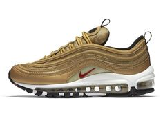 "NIKE AIR MAX 97 OG ""METALLIC GOLD"" https://thedropnyc.com/2017/04/09/nike-air-max-97-og-metallic-gold/"