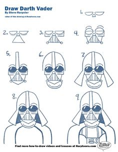 How to draw Darth Vader. See the video tutorial at Harptoons.com plus more great drawing videos.