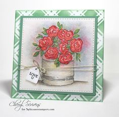 Rose Tin by CherylQuilts - Cards and Paper Crafts at Splitcoaststampers Impression Obsession Cards, Jennifer Mcguire, Distress Oxide Ink, Fun Challenges, I Am Happy, All The Colors, I Card, Handmade Cards, Tin