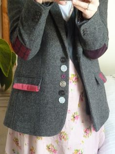 .Upcycled tweed jacket number.