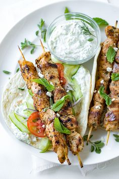 Chicken kebab wraps with easy tzatziki sauce
