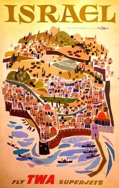 Vintage TWA Travel Poster by David Klein: Israel