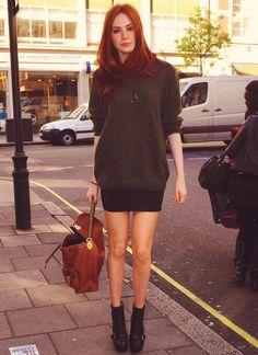 oversized sweater and miniskirt