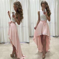 Sleeveless Prom Dress,Lace Prom Dress,Chiffon Prom Dress,Straps Prom Dress,A-line Prom Dress,High Low Prom Dress,Newest Prom Dress,Prom Dress,Prom Dresses,2017 Prom Dress,2017 Prom Dresses
