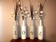 Brides who are looking to add eco-friendly decorations to their wedding ceremony or reception should consider recycled wine bottle decor. You would be amazed at how functional and stylish wine bottle decorations can be. Empty Wine Bottles, Recycled Wine Bottles, Wine Bottle Art, Painted Wine Bottles, Diy Bottle, Wine Bottle Crafts, Crafts With Wine Bottles, Decorated Wine Bottles, Glass Bottles