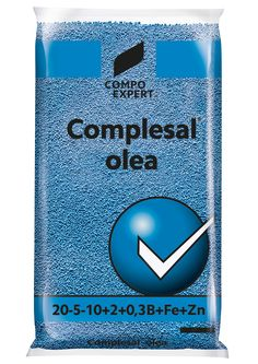 Complesal Olea Σύνθεση : 20-5-10+2+0,3B+Fe+Zn  Ιδανικό για καλλιέργειες απαιτητικές σε Βόριο, καλύπτοντας συγχρόνως και όλες τις άλλες ανάγκες σε μίκρο και μάκρο στοιχεία.     Συσκευασίες: σάκοι των 25 και 40 κιλών.