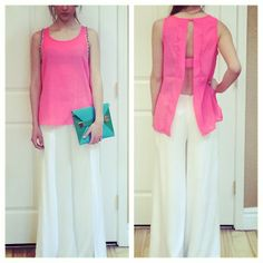 We love this white palazzo pant and fabulous hot pink top!
