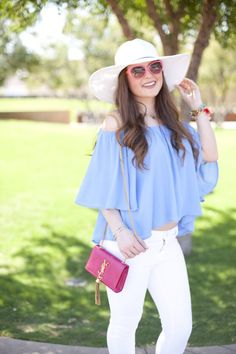Summer Wear-Summer-Nordstrom-GB-Pink-YSL-Blue-J.Crew-Kate Spade-Hat-Vacation Wear-White Jeans-Periwinkle-OOTD-Outfit Ideas-Outfit Inspiration-Fashion-Style-Bright-Bold-Fashion Blogger-Style Blog