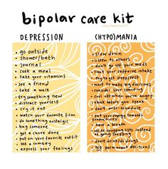 Bipolar care kit for your depression and (hypo)mania days. Mental Help, Mental And Emotional Health, Mental Health Quotes, Mental Health Matters, Bipolar Disorder Facts, Living With Bipolar Disorder, Mental Disorders, Anxiety Disorder, Bipolar Awareness