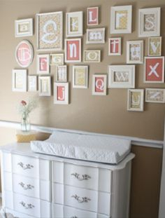 alphabet- could get cheap frames at goodwill and spray paint, use scrapbook paper and vinyl letters @ Home Renovation Ideas