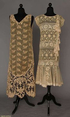 TWO EMBROIDERED NET SUMMER DRESSES, 1930s
