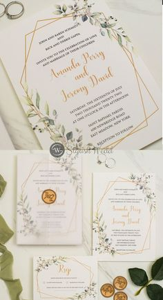 This vellum wedding invitation features a luxurious translucent vellum jacket, secured with a wax seal in gold. Leaf wreath is trending. The invitation comes with the wax seal sticker.
