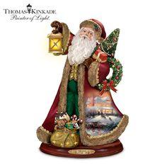 Thomas Kinkade Deck the Halls Caroling Santa Figurine with Illuminated LanternT