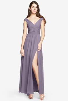 Brides: Gather & Gown. More details at gatherandgown.comTip-of-the-Shoulder Gown in Chiffon. Column dresses have a way of elongating the silhouette for a more elegant appearance. Available Black, Eggplant, Navy, Ruby, Shadow, Tulip and Wisteria.