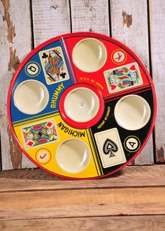 Vintage original round tin Michigan Rhummy Game Tray 1930's table card game! Spinning Game Tin Metal Tray In Great Condition!