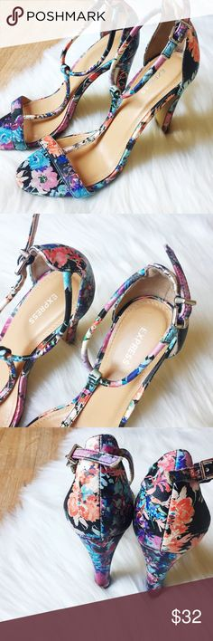 Express Colorful Floral Strappy Heels Express Colorful Floral Strappy Heels. Perfect Condition!! Worn Once! SZ. 8. Happy to answer any questions! Thanks for looking!   OFFERS are welcome!  ** 10% off Bundles of 3+ ** Smoke free home. No trades. Express Shoes Heels
