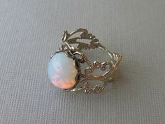 Opal Ring Silver Opal Rings Adjustable White by pinkingedgedesigns, $18.00