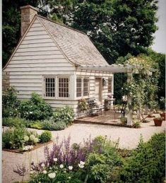 Farmhouse Exterior Tiny house, garden shed with pergola and climbing roses, english garden landscaping Cottage Patio, Cottage Living, Cottage Homes, Farmhouse Garden, Country Living, Cottage Exterior, Welsh Country, Country Patio, Colonial Exterior