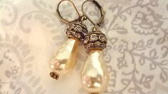 Downton Abbey Wedding Earrings Assemblage by BerthaLouiseDesigns $18.95 including gift boxing!!!