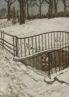 """Arthur Rackham: Peter Pan in Kensington Gardens """"She ran to St. Gover's Well and Hid."""""""