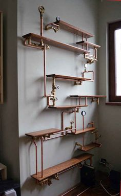 This copper pipe bookshelf. This copper pipe bookshelf.,NiCe iDeaS This copper pipe bookshelf. Casa Steampunk, Steampunk Bedroom, Steampunk Home Decor, Steampunk Furniture, Steampunk Shelves, Steampunk Interior, Gothic Steampunk, Steampunk Kitchen, Steampunk Makeup