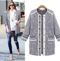 Goodnight Macaroon  GRAY TWEED COCOON JACKET  Olivia Palermo Street Style