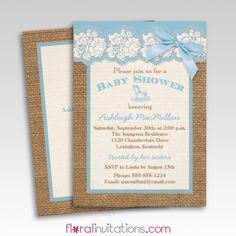 Burlap Ivory Lace Blue Floral Baby Shower Invitations - Floral Invitations