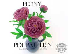 PDF PATTERN  French Beaded Peony Flowers by LaurenHCreationsPDF