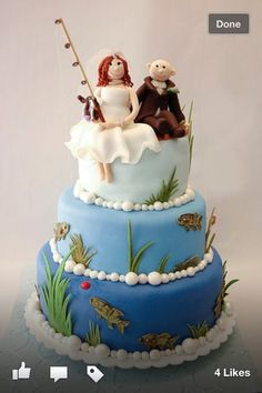 Rehearsal Dinner Cake Surprise For The Groom Grooms Use 2 Bottom Layers Fishing Wedding