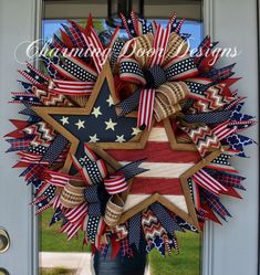 Patriotic Rustic Stars Wreath by CharmingDoorDesigns on Etsy Fourth Of July Decor, 4th Of July Decorations, 4th Of July Party, July 4th, 4th Of July Wreaths, Memorial Day Wreaths, Patriotic Wreath, Patriotic Crafts, July Crafts