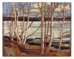 Tom Thomson, Early Spring, 1917 - Art Gallery of Ontario Group Of Seven Art, Group Of Seven Paintings, Emily Carr, Canadian Painters, Canadian Artists, Landscape Art, Landscape Paintings, Abstract Paintings, Abstract Art