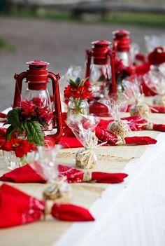 Western with bandannas, burlap, red table lantern, raffia