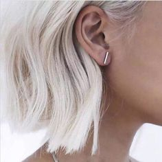 Earrings for the Minimalist at - Womens Brandy T Bar Minimalistic Earrings - Straight Bar Earrings – Grey Silver White Ice Hair Ideas - MyBodiArt