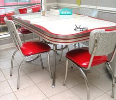 chrome kitchen dinette table and chairs