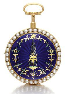 VAUCHEZ, PARIS, A YELLOW GOLD AND ENAMEL QUARTER REPEATING A TOC VERGE WATCH, CIRCA 1780