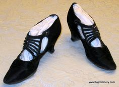 Regal Antique Edwardian Black Silk & Leather Evening Shoes, Glass Beads, Texas