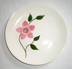 "Peggy Pink Flower Blue Ridge Southern Pottery 6 1/2"" Bread Plates 3 pcs."
