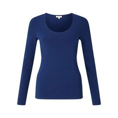 BuyJigsaw Double Front Scoop T-Shirt, Blue Ocean, XS Online at johnlewis.com