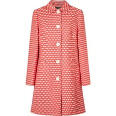 Four Seasons Small Spot Single Breasted Coat, Hot Pink/Ivory (€235) ❤ liked on Polyvore featuring outerwear, coats, leather-sleeve coats, button coat, white winter coat, collar coat and long sleeve coat