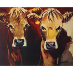 Two Cows Canvas Wall Art