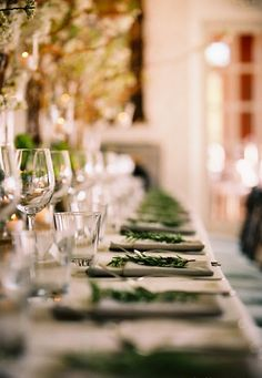 inspiration | rosemary place settings and crystal glasses | via beehive events