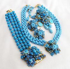 Stanley Hagler Ian St Gielar Blue Parure by AgedandOpulentJewelr, $1385.00