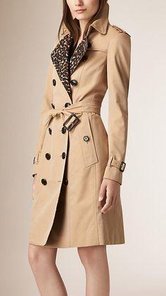 Honey Leopard Detail Cotton Gabardine Trench Coat - Image 1