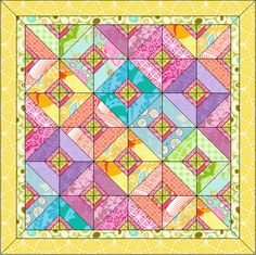 Sunny Summer quilt design online                             This quilt includes:   · 2 New Blocks   · 2 Mitered borders   · 28 new fabrics from various manufacturers.   · The overall size is 59½″ by 59½″.   Use this quilt j