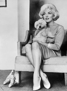 Marilyn Monroe is shown with her small white dog, Maf.