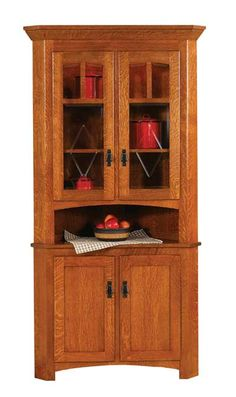 Amish Outlet Store : Craftsman Mission Corner Hutch in Cherry ...