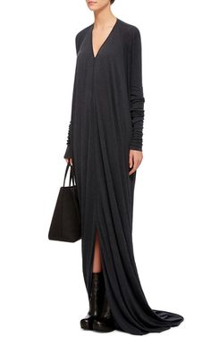 Wool Angora Blend Long Sleeved V Neck Gown by RICK OWENS LILIES Now Available on Moda Operandi
