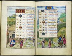 Calendar pages for April, Hours of Joanna of Castile, Bruges, between 1496 and 1506, Additional 18852, ff. 4v-5
