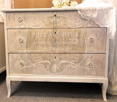 Gorgeous creamy white dresser with both Pale Gold and Champagne Metallic Paint! The lovely work is by Annette Nilsson of Sweden's Swea Hantverk!