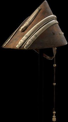 Yup´ik hunting hat, Yukon River, Alaska, ca. 1870. Wood, ivory, baleen, iron alloy, cordage